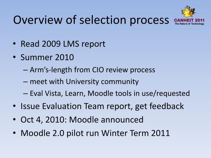 Overview of selection process