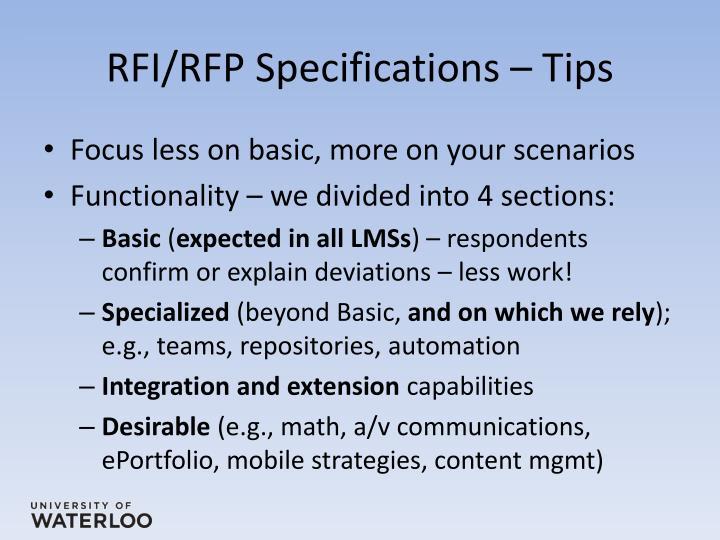 RFI/RFP Specifications – Tips