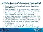is world economy s recovery sustainable