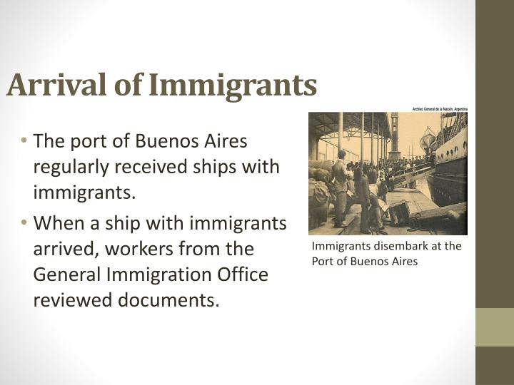 Arrival of Immigrants