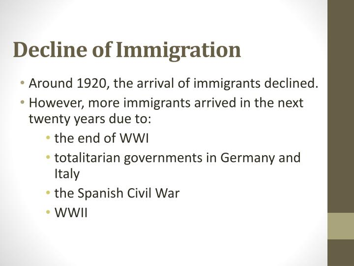 Decline of Immigration