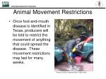 animal movement restrictions