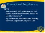 educational supplies cont
