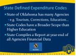 state defined expenditure codes