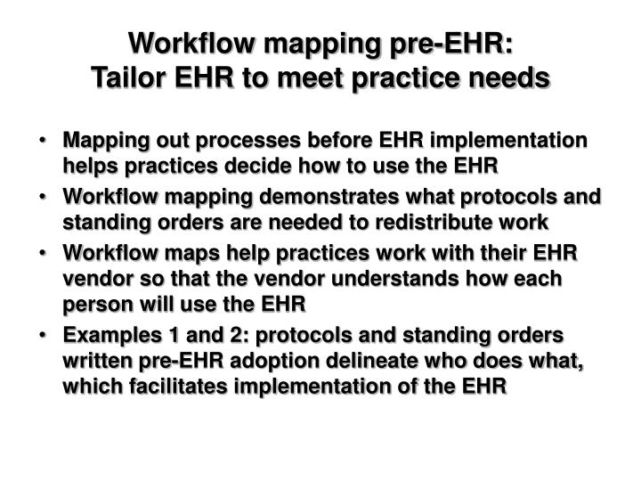 Workflow mapping pre-EHR: