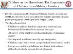 children on the homefront the experience of children from military families