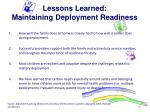 lessons learned maintaining deployment readiness