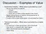 discussion examples of value