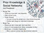 prior knowledge social networks not facebook