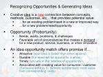recognizing opportunities generating ideas