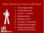 many events can result in dismissal
