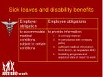 sick leaves and disability benefits1