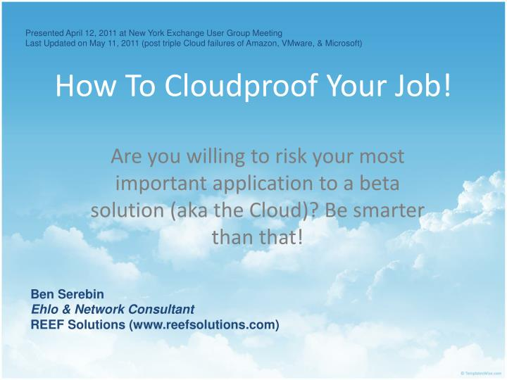 how to cloudproof your job n.