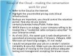 recap of the cloud making the conversation work for you