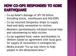 how co ops responded to kobe earthquake