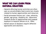 what we can learn from natural disasters