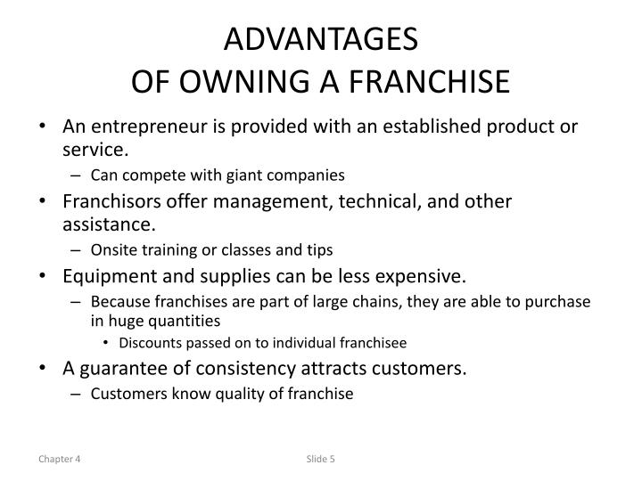 advantages of owning a franchise