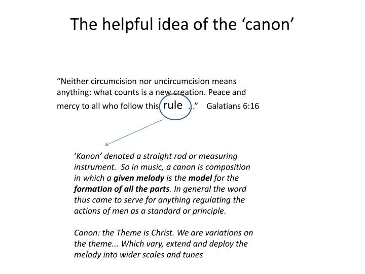 The helpful idea of the 'canon'