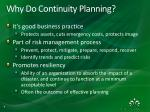why do continuity planning