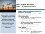 part i program description part ii project implementation