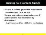 building rain garden sizing
