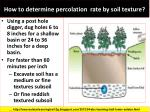 how to determine percolation rate by soil texture