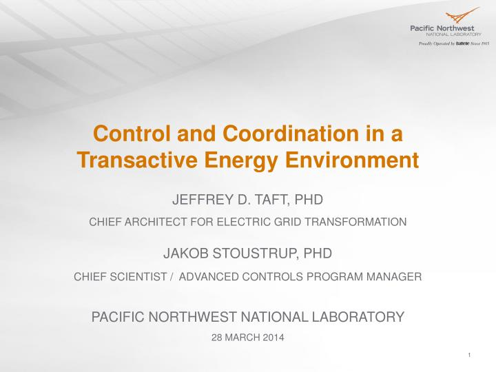 control and coordination in a transactive energy environment n.