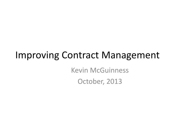 improving contract management n.