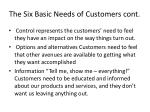 the six basic needs of customers cont