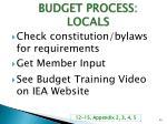 budget process locals