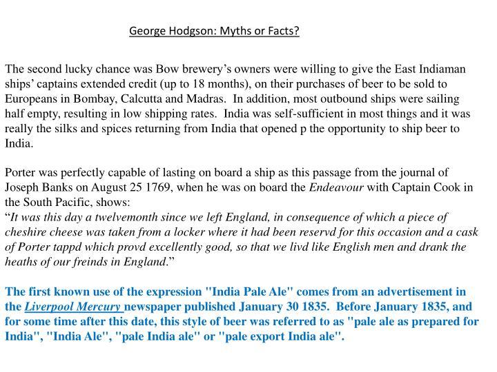 George Hodgson: Myths or Facts?