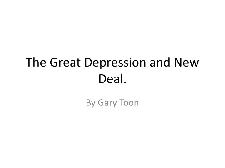 the great depression and new deal n.