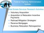 real estate services research activities