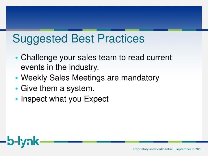 Suggested Best Practices