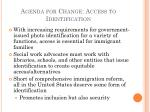 agenda for change access to identification