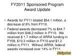 fy2011 sponsored program award update