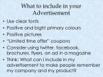 what to include in your advertisement