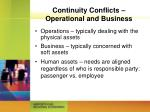 continuity conflicts operational and business