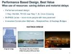 performance based design best value wise use of resources saving dollars and motorist delays
