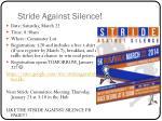 stride against silence