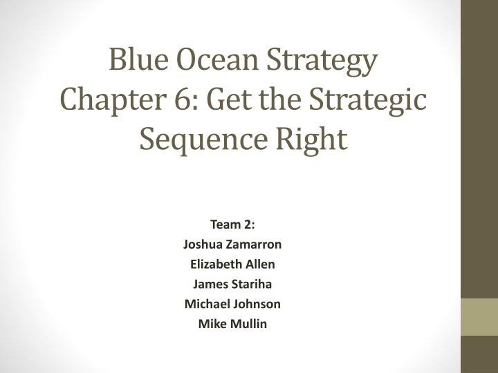 blue ocean strategy chapter 6 get the strategic sequence right n.