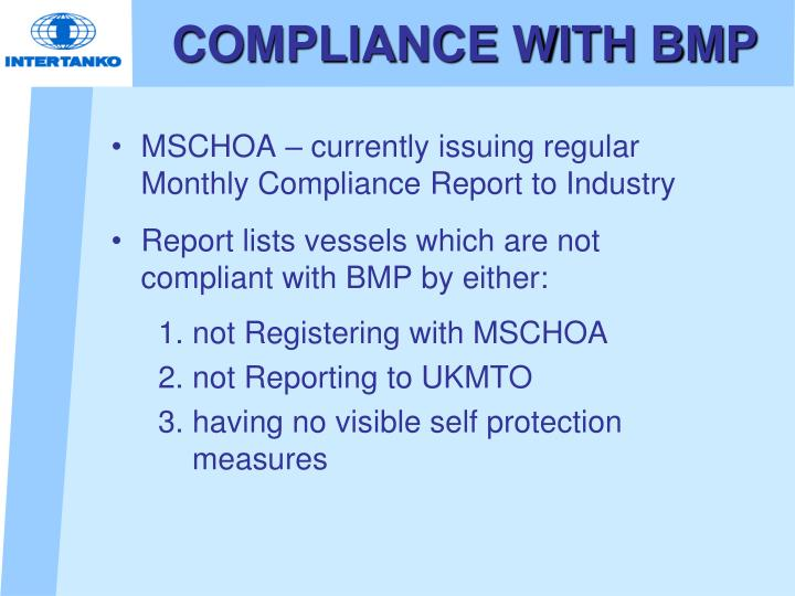 COMPLIANCE WITH BMP