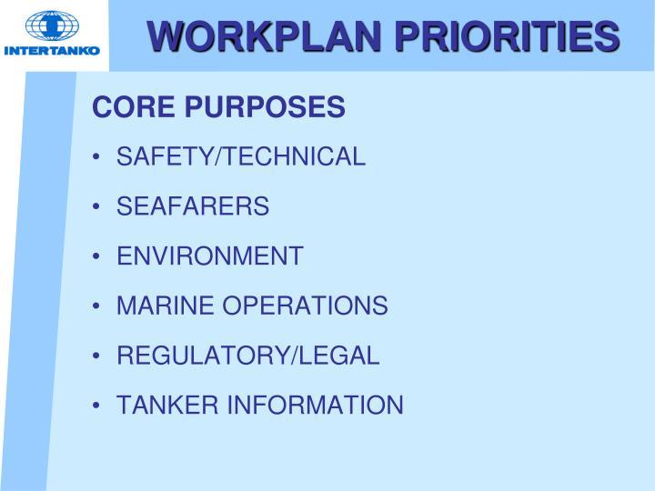WORKPLAN PRIORITIES