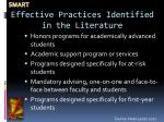 effective practices identified in the literature
