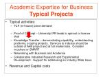 academic expertise for business typical projects