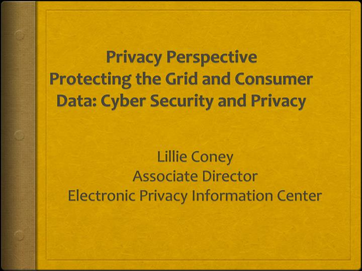 privacy perspective protecting the grid and consumer data cyber security and privacy n.