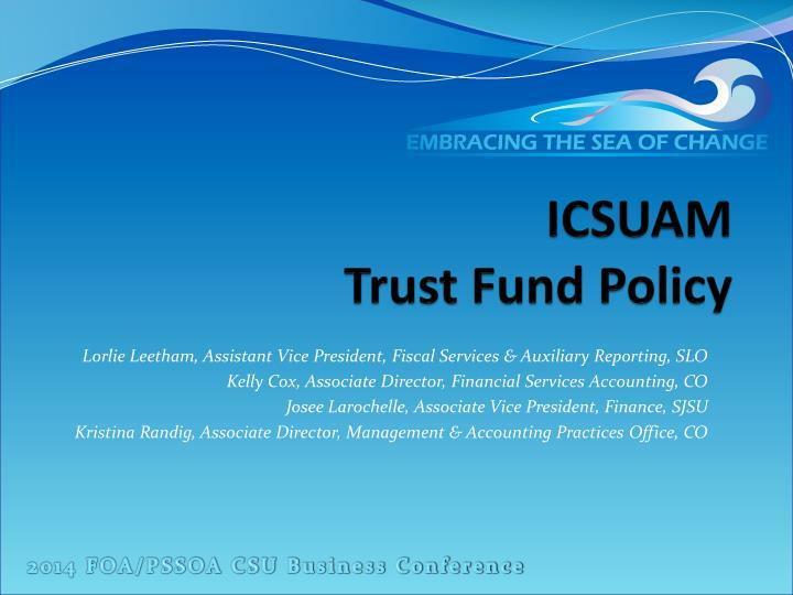 icsuam trust fund policy n.