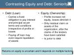 contrasting equity and debt seniority