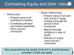contrasting equity and debt value