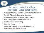 lessons learned and best practices state perspective